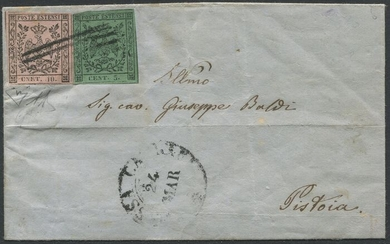 Italian Ancient States - Modena 1859 - 5 c. + 10 c. CNET on envelope from Carrara to Pistoia, certified. - Sassone NN.7+9h