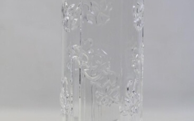 Italian Glass Cylinder Vase, for Industria Vetraria Valdarnese Tuscany, original label , H:24cm