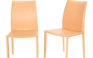 Italian Set of Six Beige Leather Wrapped Side Chairs.