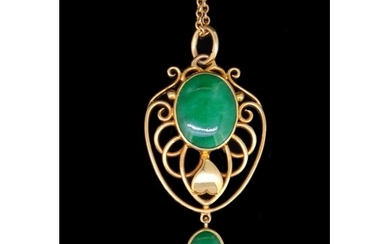 JADE AND PRECIOUS YELLOW METAL PENDANT AND CHAIN, set with a...