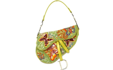 John Galliano for Christian Dior Green Embroidered Saddle Bag