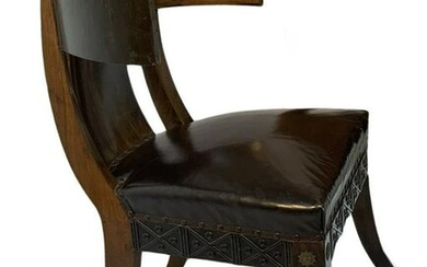 Klismos model chair in walnut and leather seat, brass