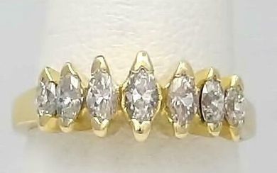 LADIES 14k YELLOW GOLD 1.00ct MARQUISE CUT DIAMOND