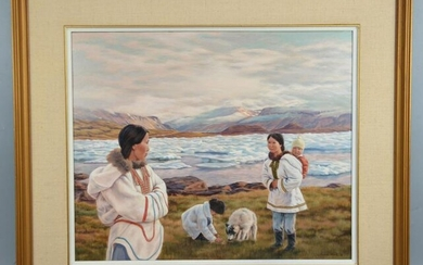 Large Anna Noeh Inuit Life Original Painting