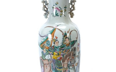 Large Chinese Baluster Figural Vase