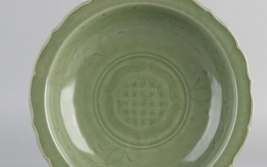 Large Chinese porcelain celadon bowl with floral relief