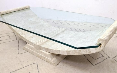 Large Decorator Stone Laminate Coffee Cocktail Table wi
