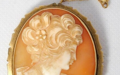 Large Vintage Italian 9ct Yellow Gold Cameo Brooch. Complete...