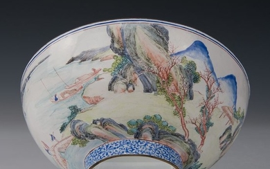 Large finely painted bowl (1) - Canton enamel - Figures on a bridge in a river landscape with mountains - China - Qianlong (1736-1795)
