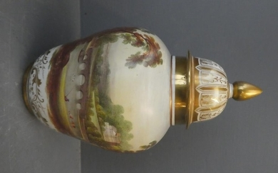 Lidded Derby vase with a beautifully painted landscape with ...