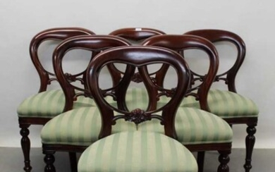 Long set of twelve Victorian style mahogany balloon back dining chairs