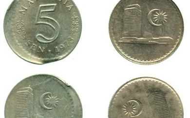 MALAYSIA Cu Ni 5 cents 1973 10% off center and Error