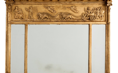 Maker unknown, A George III-Style Neoclassical Carved and Giltwood Overmantel Mirror (circa 1860)
