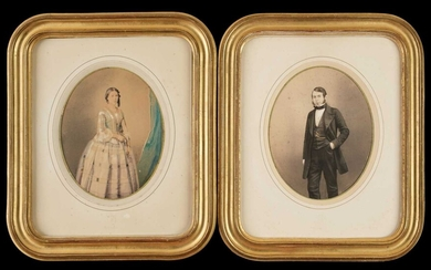 Mayer (Ernest & Pierson). A pair of colour-tinted salt prints of a young man and woman, c. 1855