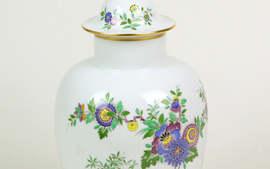 Meissen lidded vase Indian painting.