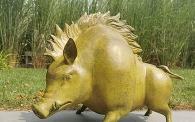 Modern designed sculpture of a Wild pig - Patinated
