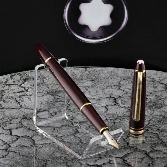 Montblanc - Fountain pen - Meisterstuck 144 - Bordeaux Wine Red Burgundy 14K Gold Nib 4810 - Polished & Cleansed New Conditions of 1