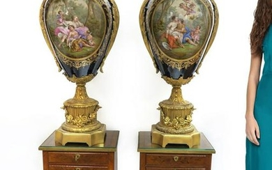 Monumental Pair of 19th C. Sevres Vases