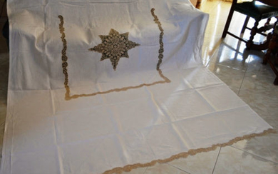 Museum-like curtain in pure linen with Cantu embroidery, entirely handmade