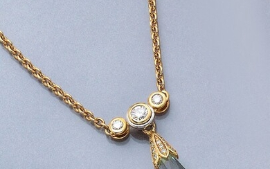 Necklace with aquamarine and brilliants , YG750/000...
