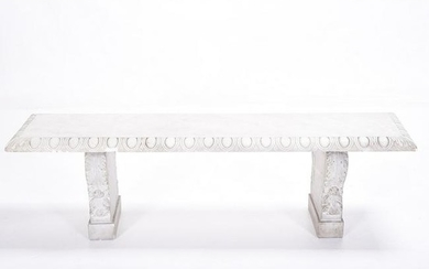 Neoclassical Style Carved Marble Bench with Stone Base.
