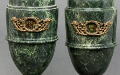Neoclassical Style Green Marble Urns, Pair
