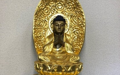 Okimono - Natural solid wood and lacquer gold - 阿弥陀如来(Amidanyorai) - Japan - Edo period (1856)