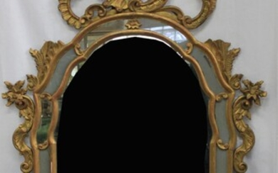 Old Rococo Style Carved Gilt-Wood Mirror