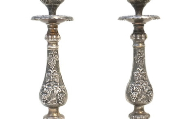 PAIR ORNATE SILVER PLATED CANDLESTICKS