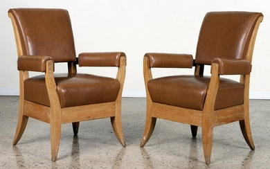 PAIR UPHOLSTERED FRENCH OAK ARM CHAIRS C. 1940