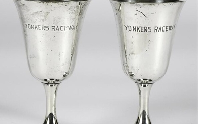 PAIR of STERLING SILVER TROPHIES YONKERS RACEWAY