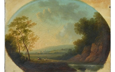 19th C. PANORAMIC SUNRISE PAINTING ILLEGIBLY SIGNED