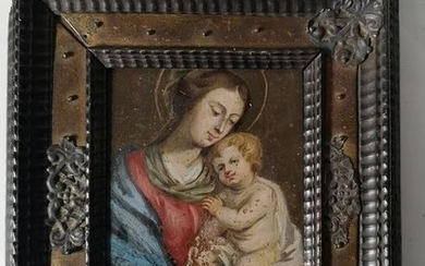 Painting, Oil on copper - Copper + wood - 17th century
