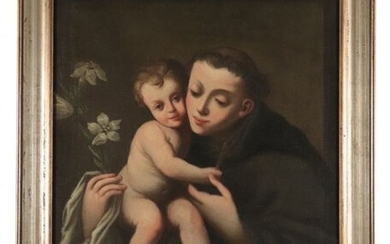 "Painting, ""Saint Anthony of Padua with Baby Jesus"" - Oil painting on canvas - Late 17th century"