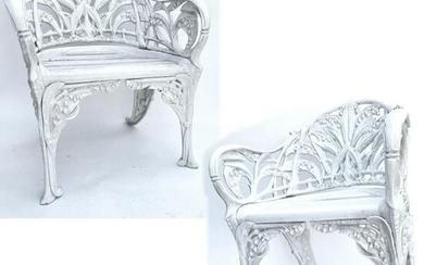 Pair Victorian Lily of the Valley Cast Iron Chairs