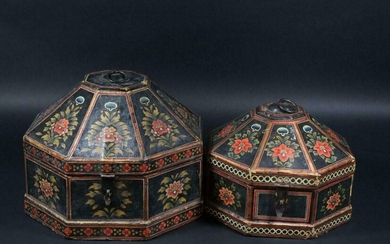Pair of Antique Indian Wood Box Sets