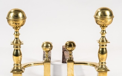 Pair of Brass and Iron Ball-top Andirons