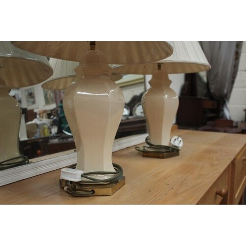 Pair of Brass & Porcelain Table Lamps with shades (60cm tall...