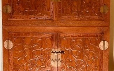 Pair of Cabinets (2) - Wood - Dragons - China - 20th century