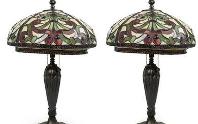 Pair of Dale Tiffany Style Table Lamps
