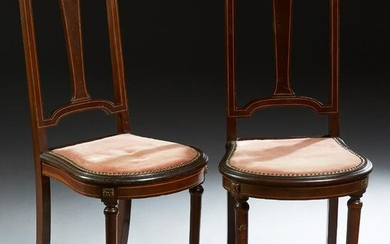 Pair of French Inlaid Mahogany Louis XVI Style Side
