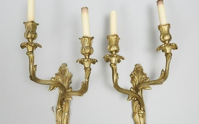 Pair of Rococo Style Gilt Bronze Two Light Wall