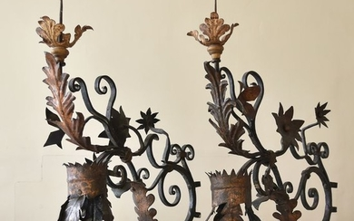 Pair of Stunning Rare Italian Iron Candle Appliqués Wall Sconces.- Iron (wrought) - First half 18th century