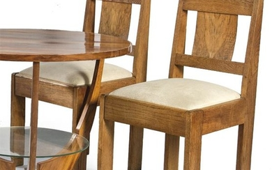 Pair of art deco chairs, in oak with upholstered seat.