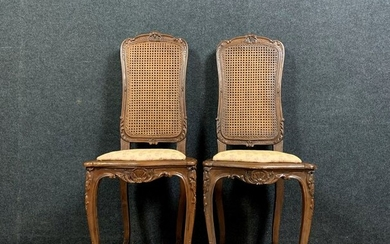 Pair of cellist chairs with seats and cane backs - Louis XV Style - Walnut - Late 19th century