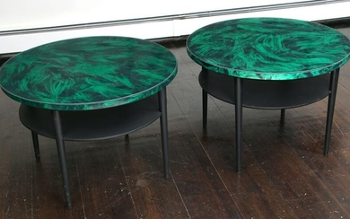 Pair of round modern side tables