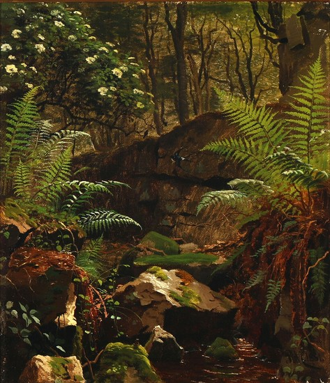 Peder Mønsted: A lush forest floor with a spring. Signed and dated P. M. 1881. Oil on canvas. 39.5×34 cm.