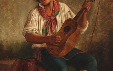 Peter Raadsig: An Italian street musician. Signed and dated P. R. Subiaco 1842. Oil on paper laid on canvas. 56×41 cm.