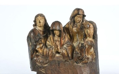 RARE GROUP in polychrome and gilded wood representing...