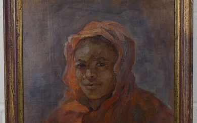 R.E. - Portrait of a Youth wearing a Red Robe, 20th century oil on canvas-board, signed with initial